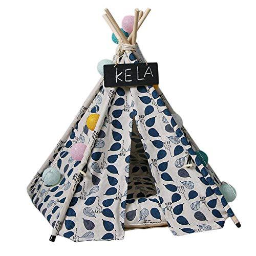 Guajave Haustier Tipi Hund Katzen Kaninchen Bett Leinen Tragbar Haustier Zelte Häuser mit Kissen - Blau, 40cm×40cm×50cm