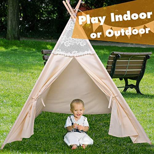 besrey Spielzelt Tipi Zelt für Kinder aus 100% Baumwolle Kinderzelt Indianerzelt mit Aufbewahrungstasche Teepee