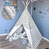 Tiny Land Tipi Kinderzimmer Spielzelt für Kinder drinnen draußen - Segeltuch Kinder Zelt (Rosa Chevron Chevron 150cm Hoch )