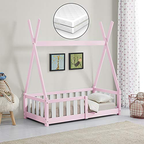 [en.casa] Kinderbett mit Matratze 70x140cm Rosa mit Rausfallschutz im Tipi Design aus Kiefernholz Jugendbett Bett Holzbett Hausbett