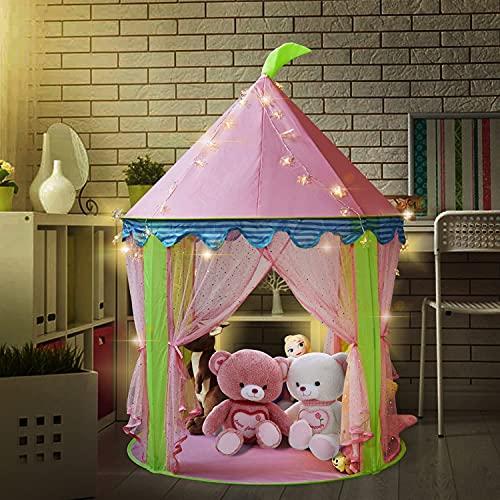 Mädchen Prinzessin Schloss Zelt mit 5 Meter Batteriebetriebene Innendekoration Lichterketten 50pcs LED Schneeflocken Beleuchtung-Pink Playhouse für Mädchen Pop up Zelt Lesesaal