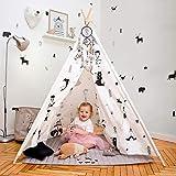 Hakuna Matte Tipi Zelt für Kinder – Stilvolles Spielzelt im skandinavischen Design mit Spielmatte, Traumfänger & Tragetasche – Kinderzelt besteht aus 100% Baumwolle und Kiefernholz, EN71-Zertifiziert