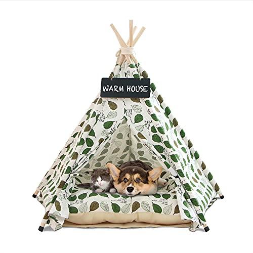 Tipi Zelt für Haustiere-Pet Tipi Hunde-Katzenbett mit Kissen - Luxery Hundezelte und Haustierhäuser mit Kissen und Tafel (Grüne Blätter)