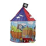 Relaxdays Piraten Spielzelt für Jungen, Kinderzelt mit Piratenflagge ab 3 Jahren, Spielhaus H xD 130 x 100 cm, rot-blau