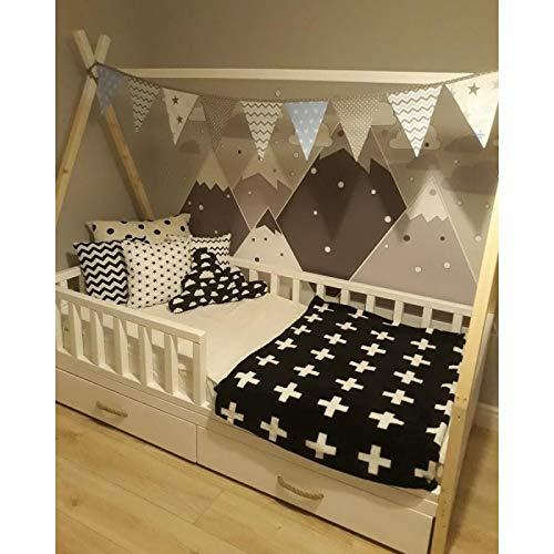 Kinderbett Tipi Indianer Bett Hausbett Zelt mit Rausfallschutz und Schubladen versch. Größen (140x70 cm)
