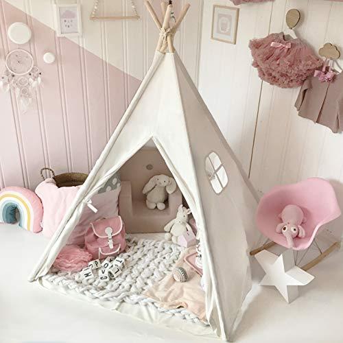 Tiny Land Tipi Spielzelt für Kinder mit gepolsterter Matte & Lichterkette & Aufbewahrungstasche Baumwolle- Segeltuch Kinderzelt (Weiß 165cm Hoch)