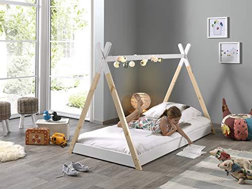 Vipack Tipi Zelt Bett Liegefläche 90 x 200 cm, Weiß/Natur
