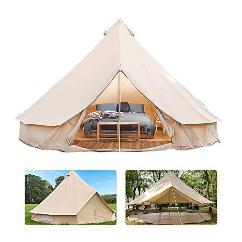 Zhangcui Glockenzelt Glamping, 4 Saison Wasserdichtes Tipi-Zelt 4M Beige Großes Zelt Leinwand Jurten Zelt mit Kamin Mund Hole, für Familien Outdoor Camping Wandern Jagd