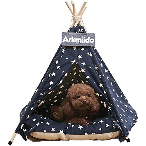 Arkmiido Haustierzelt für Hunde Welpe Katze mit Bett, Canvas-Hundehütte, Pet Tipi mit Kissen 60CM, Drinnen draußen