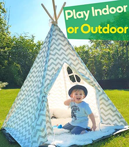 Tipi Zelt für Kinder - Kinderzimmer Spielzelt - drinnen draußen Segeltuch Kinderzelt (Grauer Chevron 160cm Hoch )