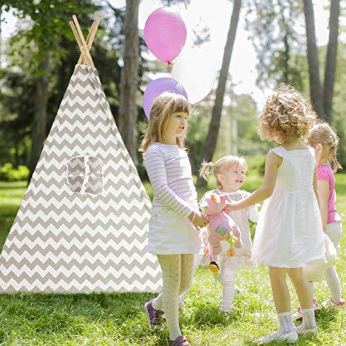 Relaxdays Tipi Zelt, Spielzelt mit Boden, inklusive Tragetasche, Wigwam Kinderzelt, HxBxT: 160 x 115 x 115 cm, weiß-grau