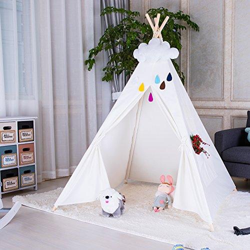 Triclicks Tipi Zelt Für Kinder, Tipi Spielzelt für Kinder, Indianerzelt Kinderzelt Wigwam Spielhaus Für Drinnen & Draußen, 100% Baumwolle Segeltuch (Weiß)