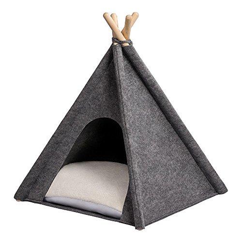 MYANIMALY Tipi Zelt für Haustiere, Katzenzelt, Haustierbett, Haustierhütte für Hunde und Katzen mit beidseitig anwendbarem Kissen, Gestell aus Kiefernholz (100 x 100 cm, Grau/Ecru)