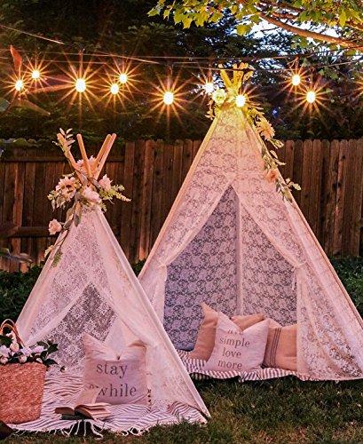 Tipi Zelt für Kinder, 5-seitiges Luxuriöses Spitzenstoff Zelt für den Innen- und Außenbereich (XXL-Große 2,2 m Hoch)-Hochzeit, Geburtstag, Nickerchen, Fotografie Dekor-Mädchen & Jungen