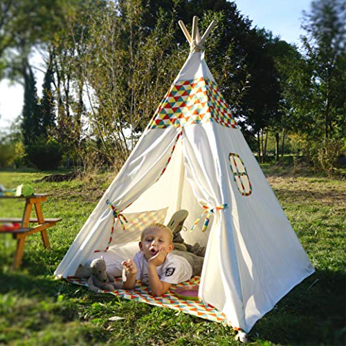 Hej Lønne Tipi Zelt für Kinder - weiß einfarbig - Kinderzelt Spielzelt Geschenkidee - Mit Bodendecke und Fenster - Für Haus und Garten (Bunt)