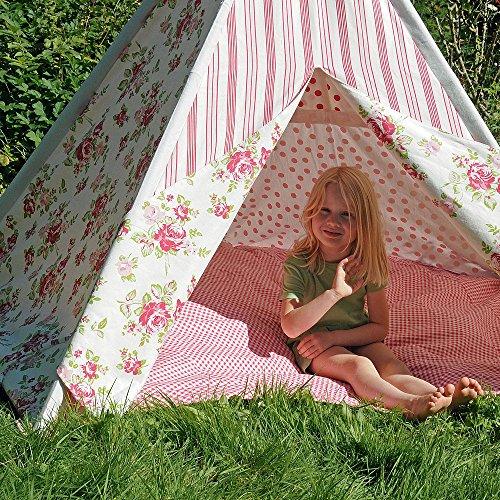 HAB & GUT -ZK001- Teepee - hochwertiges Stoffzelt für Kinder, Blumenmuster pink/Weiss, Höhe 135 cm, 183 cm - Holzstangen, Baumwolle, Indoor