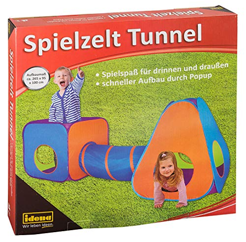 Idena 40118 Spielzelt mit Tunnel für Kinder, für drinnen und draußen geeignet, ca. 265 x 95 x 100 cm, bunt