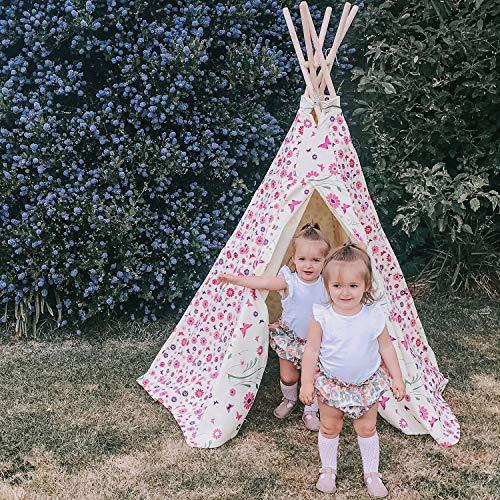 Tipi Spielzelt für Kinder Wigwam Spiel-Zelt, Dicker Stoff Teepee Kinderzelt mit Rosa Blumen und Schmetterlingen, Garden Games 3041