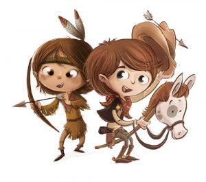 Kids spielen Cowboy und Indianer